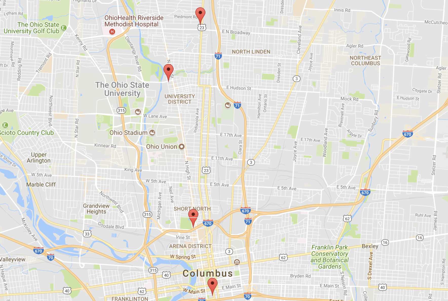 Map of Apartments in Columbus, Ohio